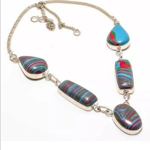 "Jewelry - 18"" NECKLACE Rainbow Calsilica Handmade SILVER 925"